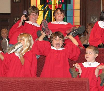 Joyful Noise Choir in Church with Shoes 400